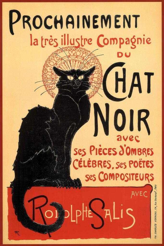 Poster Foundry Le Chat Noir The Black Cat Vintage Advertisement Stretched Canvas Art Print 16x24 inch