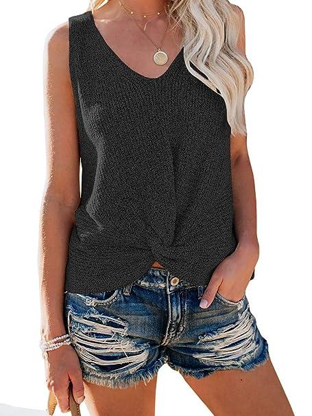 794f0da6307c5d Ybenlow Womens Summer V Neck Sleeveless Sweater Twist Knot Casual Loose Knit  Tank Tops (Medium, Black) at Amazon Women's Clothing store: