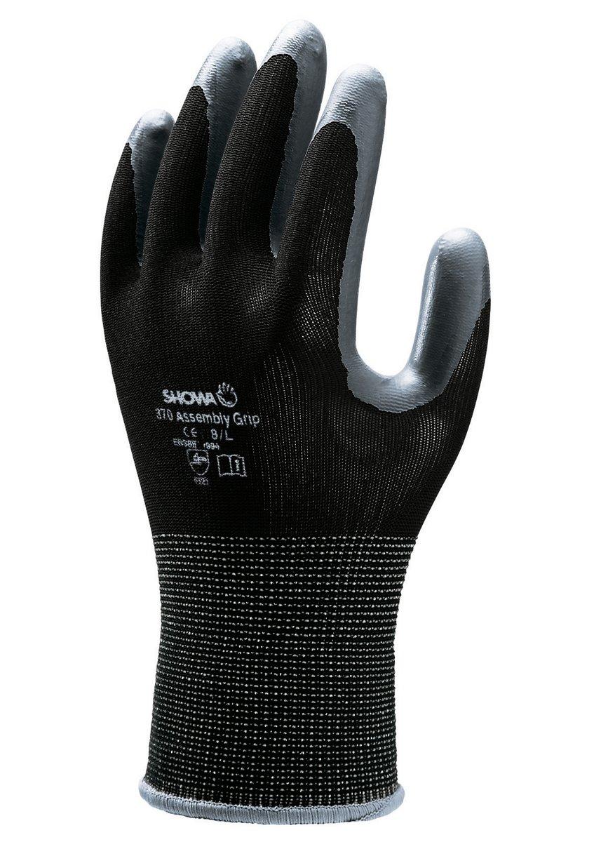7//M SHOWA 370 Negro//gris oscuro Revestimiento de Nitrilo Uso general