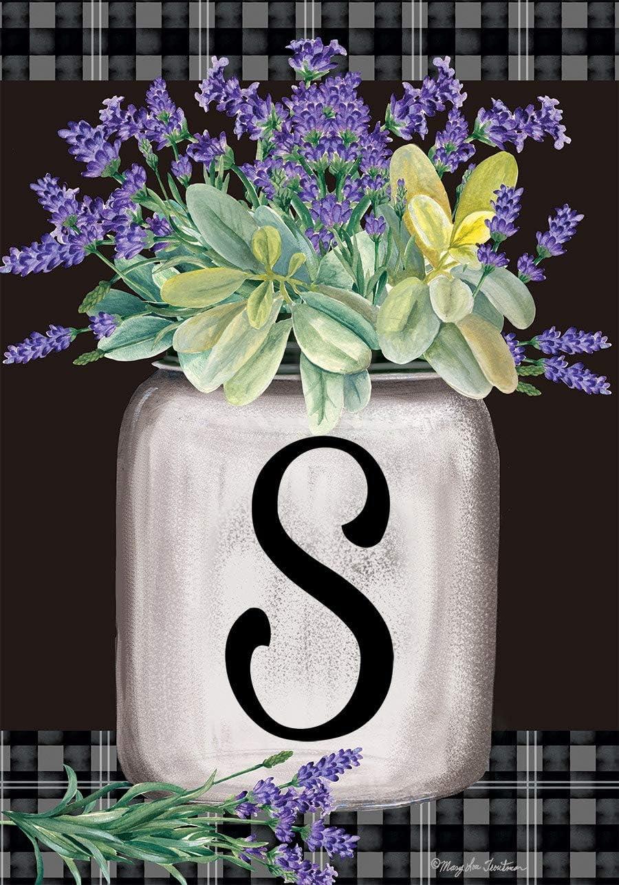 Briarwood Lane Farmhouse Monogram Letter S Garden Flag Floral 12.5