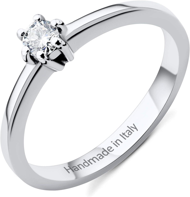 Miore anillo de compromiso para mujer de oro blanco de 14 quilates 585 y diamante brillante de 0,13 quilates
