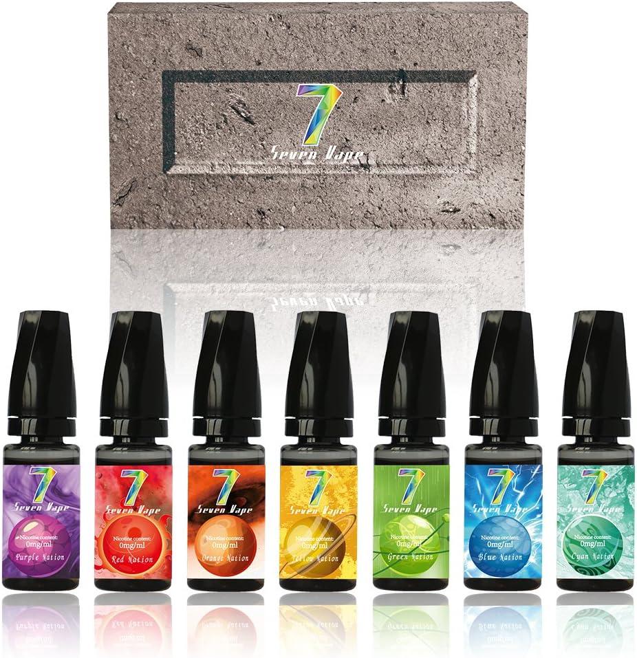 E Liquid, Seven Vape 7X10ml Paquete de Mezcla E-Liquido 70VG/30PG Liquido Vaper Sin Nicotina para Cigarrillo Electrónico (Siete Colores): Amazon.es: Salud y cuidado personal