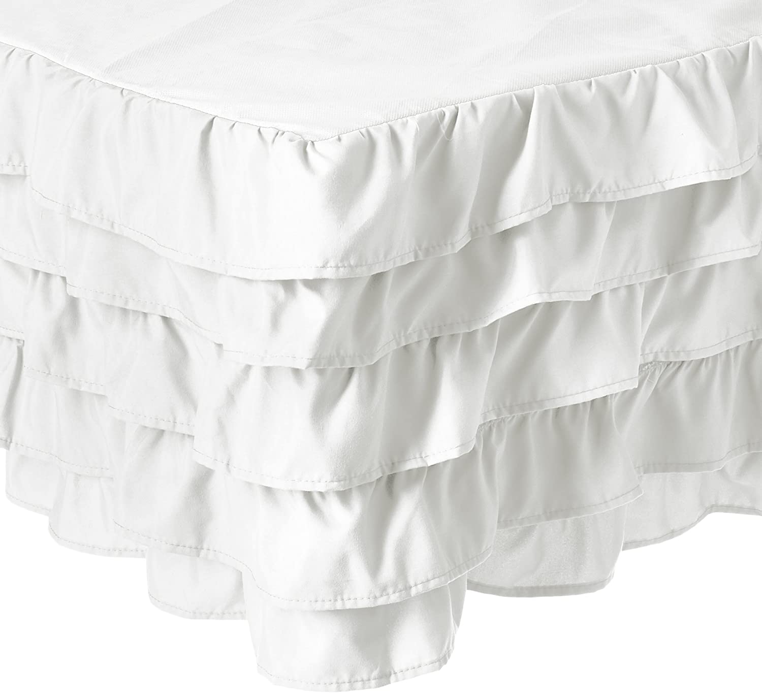 (California King, White) Elegant Comfort Luxurious Premium Quality 1500 Thread Count Wrinkle and Fade Resistant Egyptian Quality Microfiber Multi-Ruffle Bed Skirt 38cm Drop, California King, White B0714B9X26 California King|ホワイト ホワイト California King