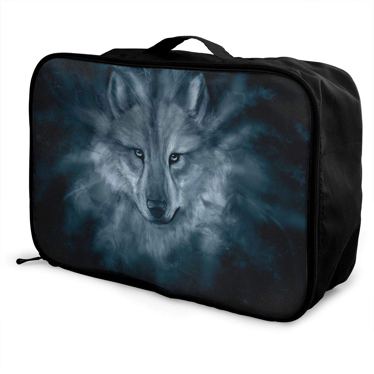 Travel Luggage Duffle Bag Lightweight Portable Handbag Wolf Print Large Capacity Waterproof Foldable Storage Tote