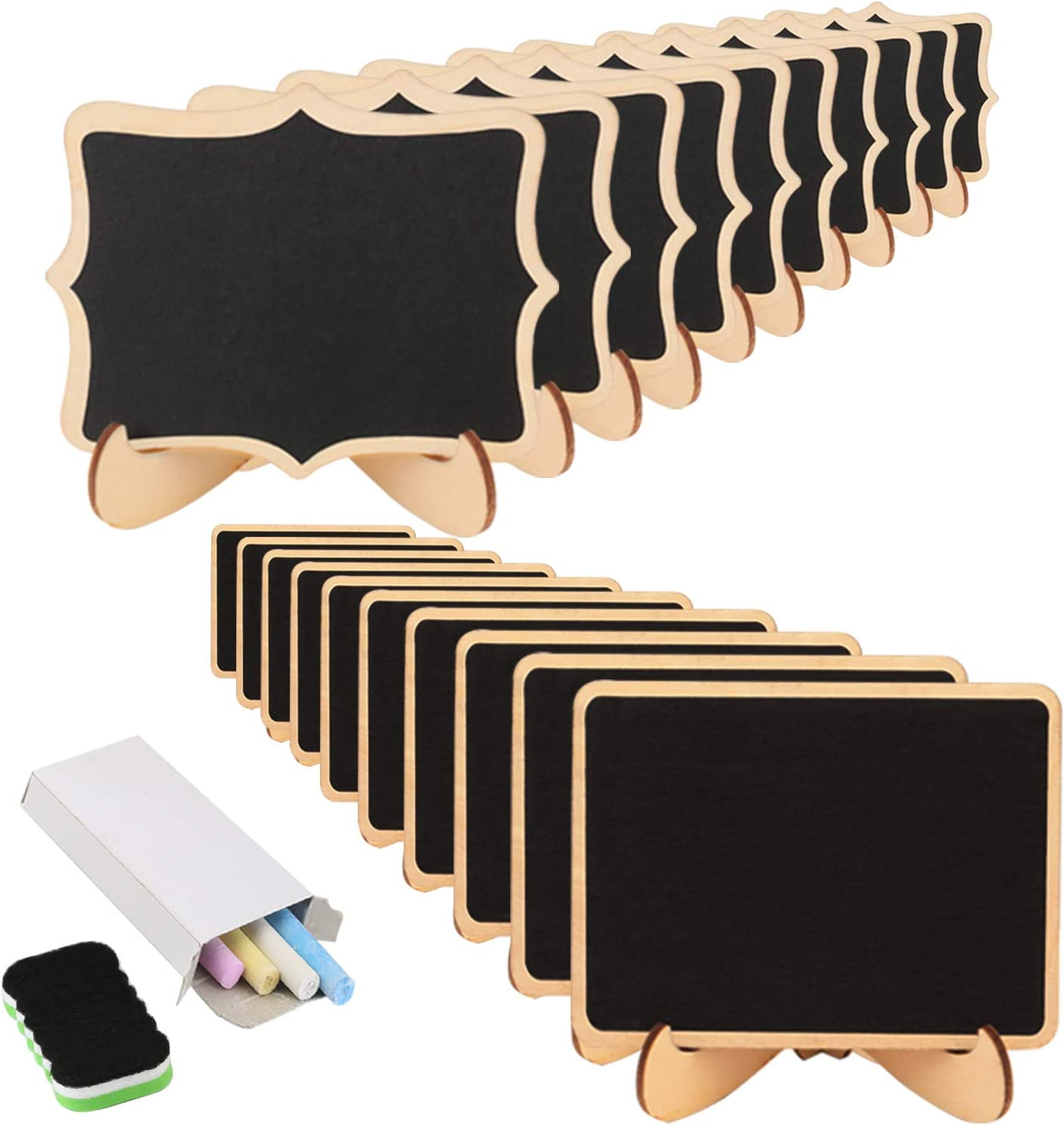 Mini Chalkboard KAKOO 20 Pcs Blackboard with Stand for Party Wedding Table Number Message Board Signs. (20 pcs Mini chalkboards)