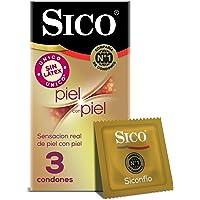 Condones Sin Látex Sico Piel con Piel color natural, cartera con 3 piezas