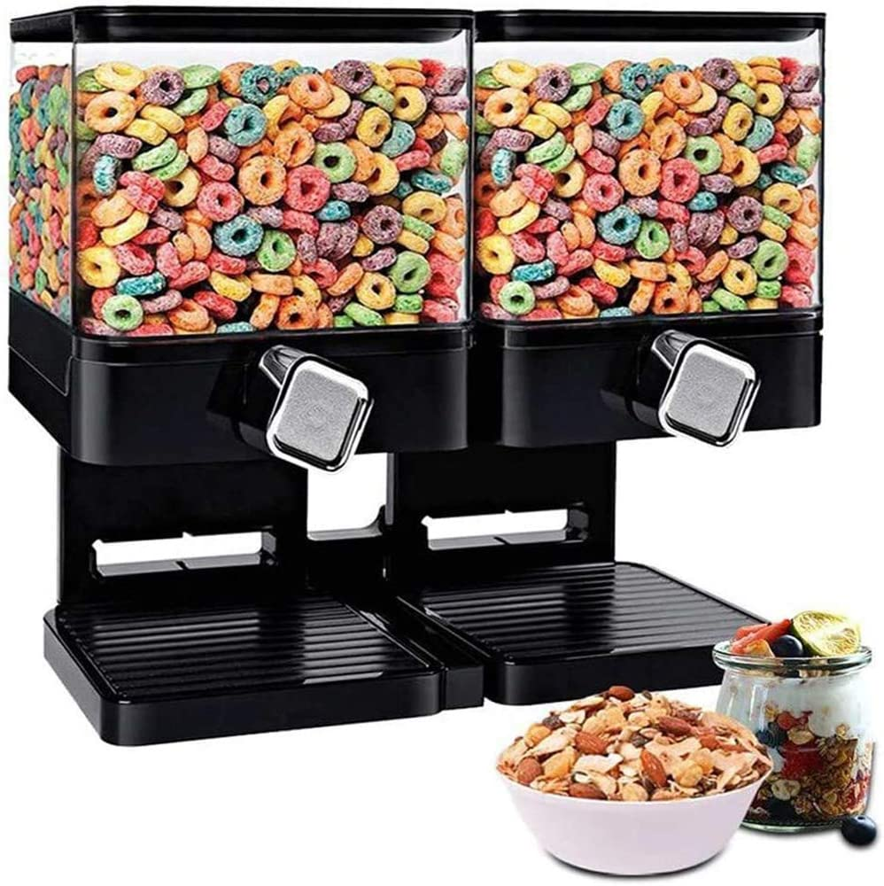 Kitchen Double Canister Dry Food Dispenser Machine Black Transparent Square Storage Box for Oatmeal Candy Muesli Nuts Coffee Cornflakes
