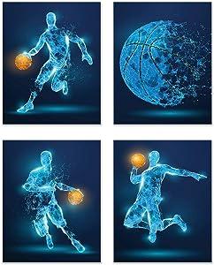 Summit Designs Basketball X-Ray Wall Art Decor - Set of 4 (8x10) Poster Photos