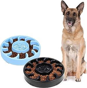JASGOOD Slow Dog Bowl for Large Dogs,Anti-Gulping Dog Slow Feeder Stop Bloat,Slow Eating Big Pet Bowl (F-Black+Blue)