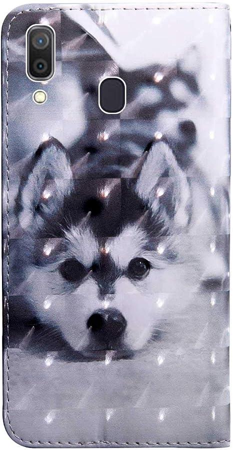 DENDICO Coque Galaxy A20 Motif 10 Housse /Étui pour Samsung Galaxy A20 Flip Portefeuille en Cuir avec Fonction Support et Languette Aimant/ée