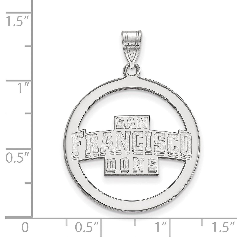 925 Sterling Silver Rhodium-plated Laser-cut University of San Francisco Large Circle Pendant