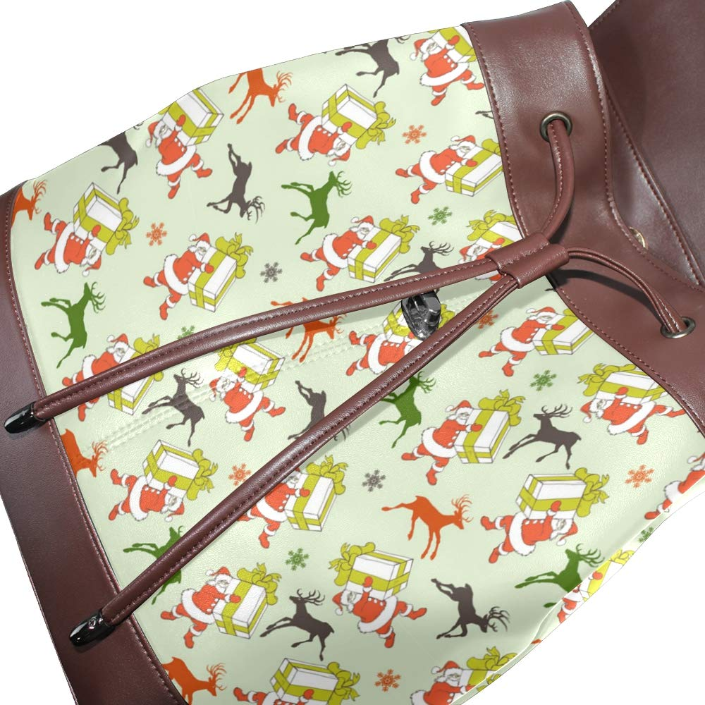 Unisex PU Leather Backpack Christmas Cartoon Santa Xmas Print Womens Casual Daypack Mens Travel Sports Bag Boys College Bookbag