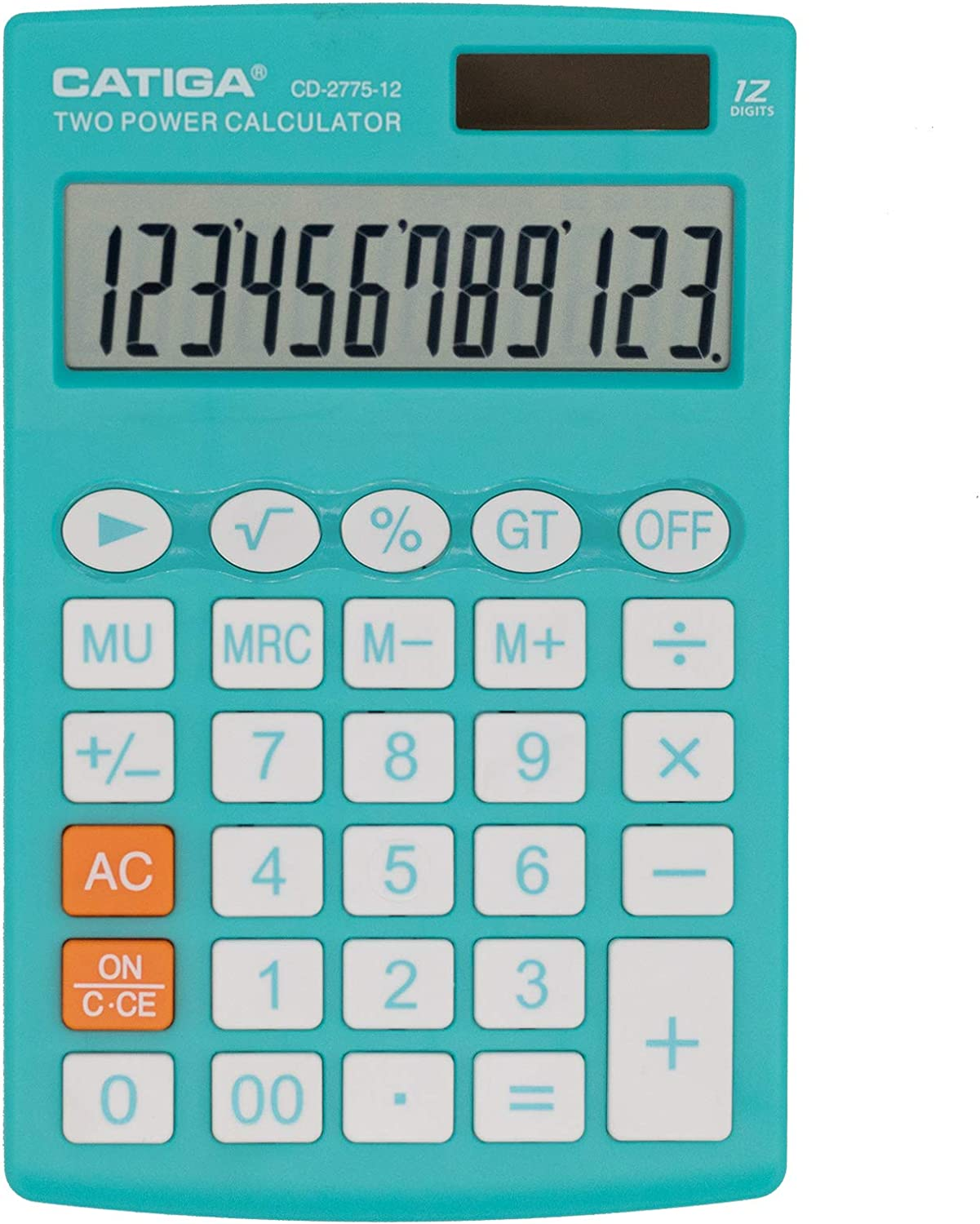 Desktop Calculator with 12 Digit LCD Display Screen, Home or Office Use, Easy to use with Clear Display/Memory Functions, CD-2775 (Teal)