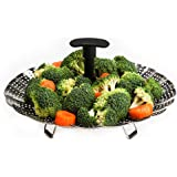 """Vegetable Steamer Insert – Stainless Steel Steamer Basket with Extendable Plastic Handle, Foldable Legs with Silicone Feet, Folding Expandable Petals, Fit Various Size Pot (8"""" to 12"""")"""
