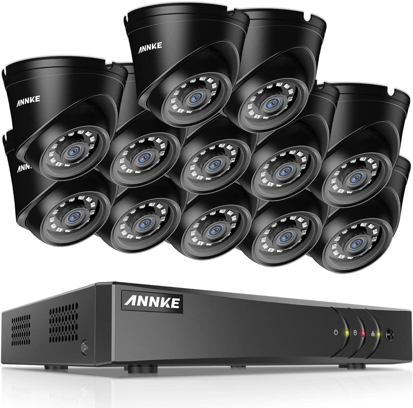 ANNKE 16-Channel HD-TVI 1080P Lite Security System and 12 1080P Super Night Vision CCTV OutdoorCameras, Intelligent Motion Detection, Smartphone Remote Monitoring, NO HDD