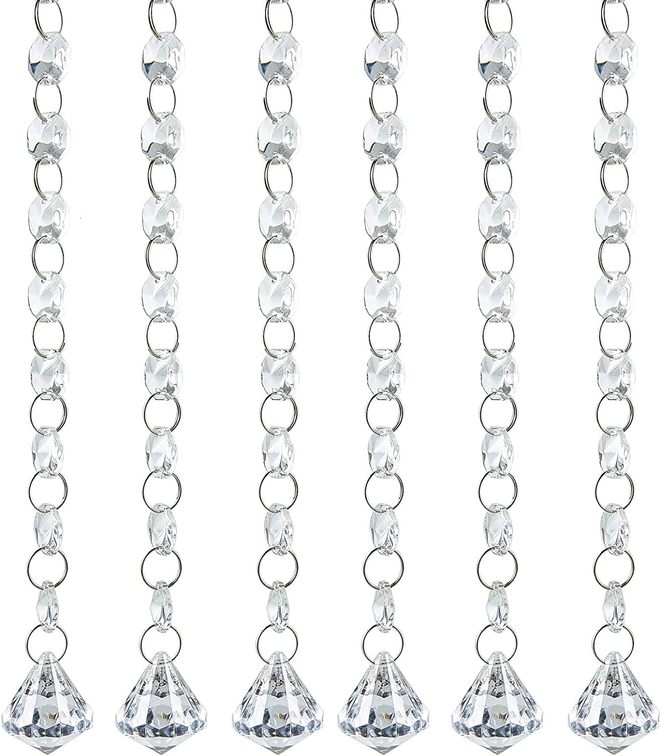 Timoo 20 FT Crystal Chandelier Beads Clear Glass Crystal Octagon Beads Chain Garland Trim for Wedding Party Bar and DIY Craft Projects