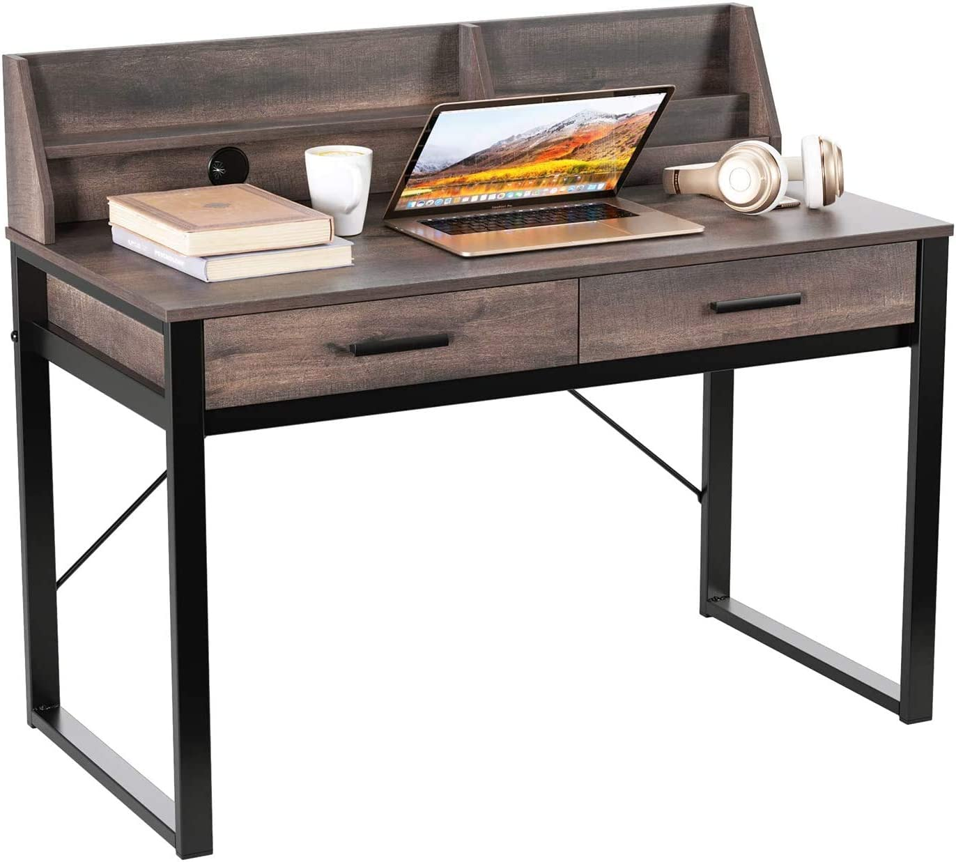 HOMECHO Computer Desk, Industrial Writing Desk with Drawers and Shelf, Home Office Writing Study Table for Bedroom, Study Room, Metal Frame, Easy Assembly, Rustic Brown