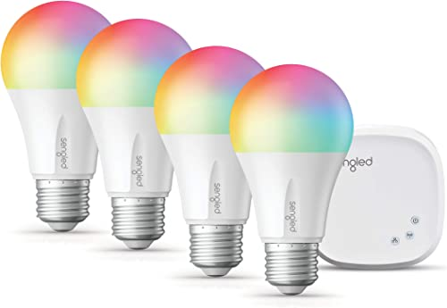 Sengled Smart Light Bulbs, Color Changing Light Bulb that Work with Alexa, Google Assistant, RGB Light Bulb, Alexa Light Bulbs A19 E26 Multicolor Bulb, 60W Equivalent, 800LM, 4 Pack with 1 Hub