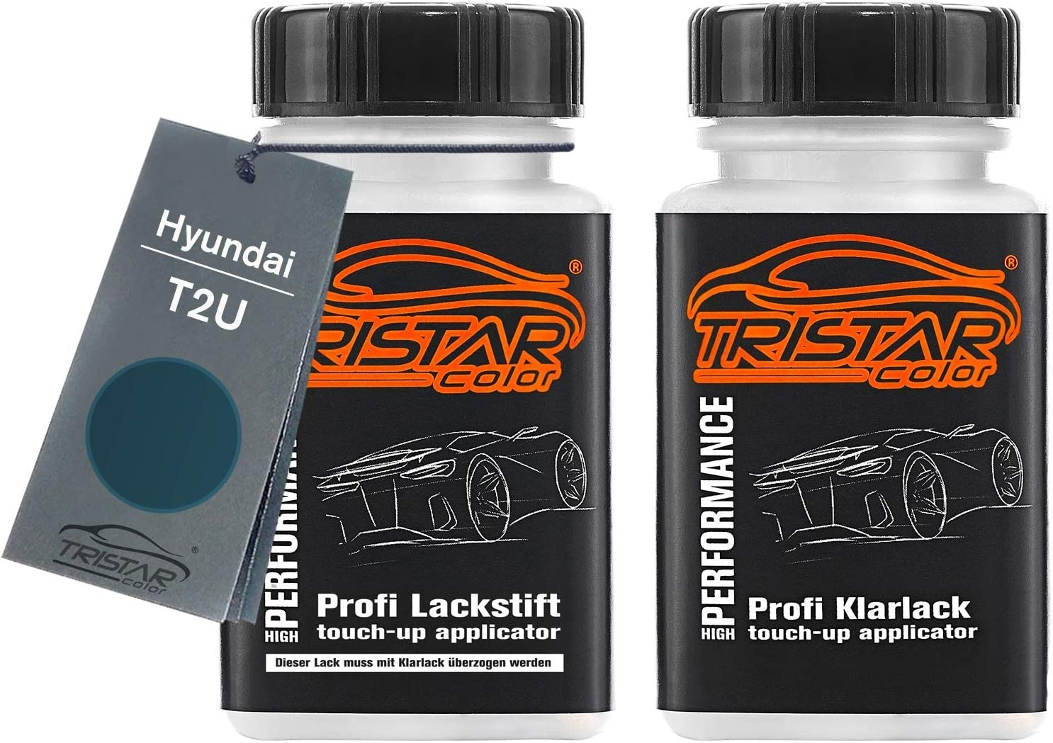 Tristarcolor Autolack Lackstift Set Für Hyundai T2u Aqua Blue Metallic Basislack Klarlack Je 50ml Auto