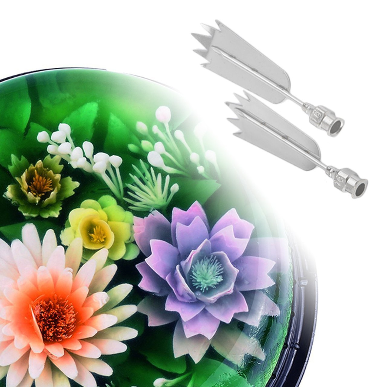 Creative Stainless Steel 3D Jelly Flower Art Tools Syringe 3D Gelatin Art Tools Jello Gubbins Set with Differnt Style