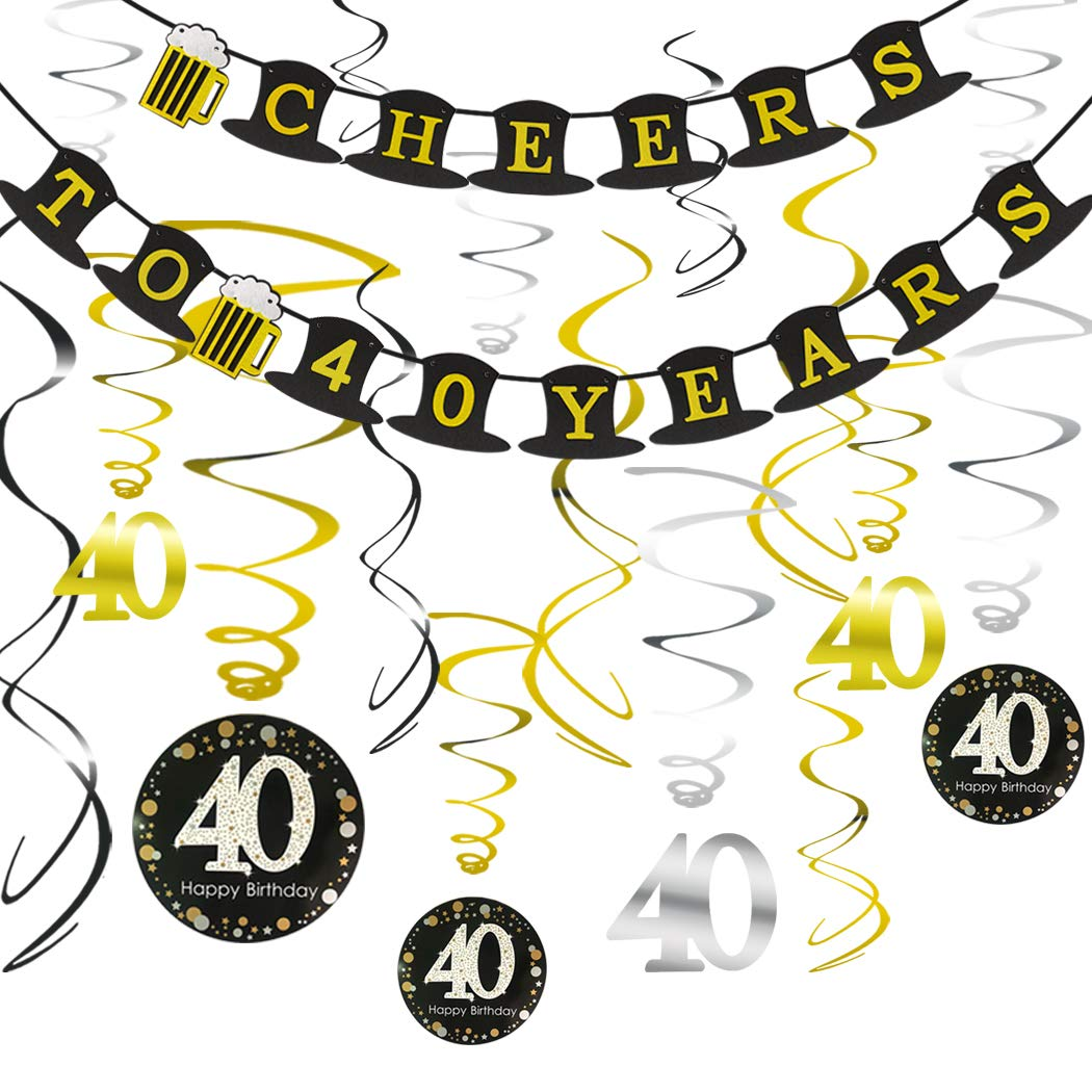 40th BIRTHDAY PARTY DECORATIONS KIT Sparkling Celebration 40 Hanging Swirls Perfect 40 Years Old Party Supplies 40th Anniversary Decorations Cheers to 40 Years Hat Banner
