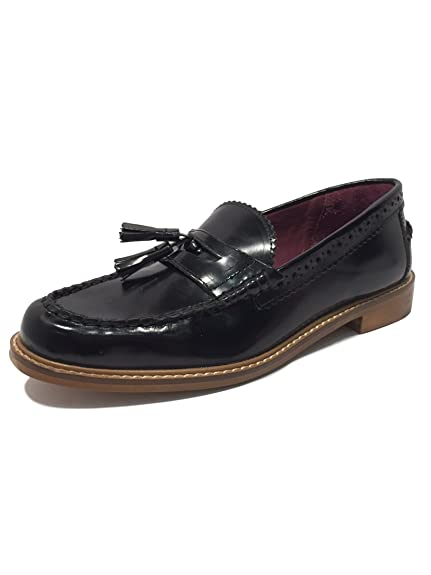 London Brogues Womens Ladies Lucas Real Leather Patent Tassel Loafers Slip  On Flats Black Formal Brogue ad11a3d7eb