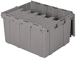 Akro-Mils 39175 Plastic Storage and Distribution Container Tote with Hinged Lid, 24-Inch L by 19.5-Inch W by 12.5-Inch H, Grey