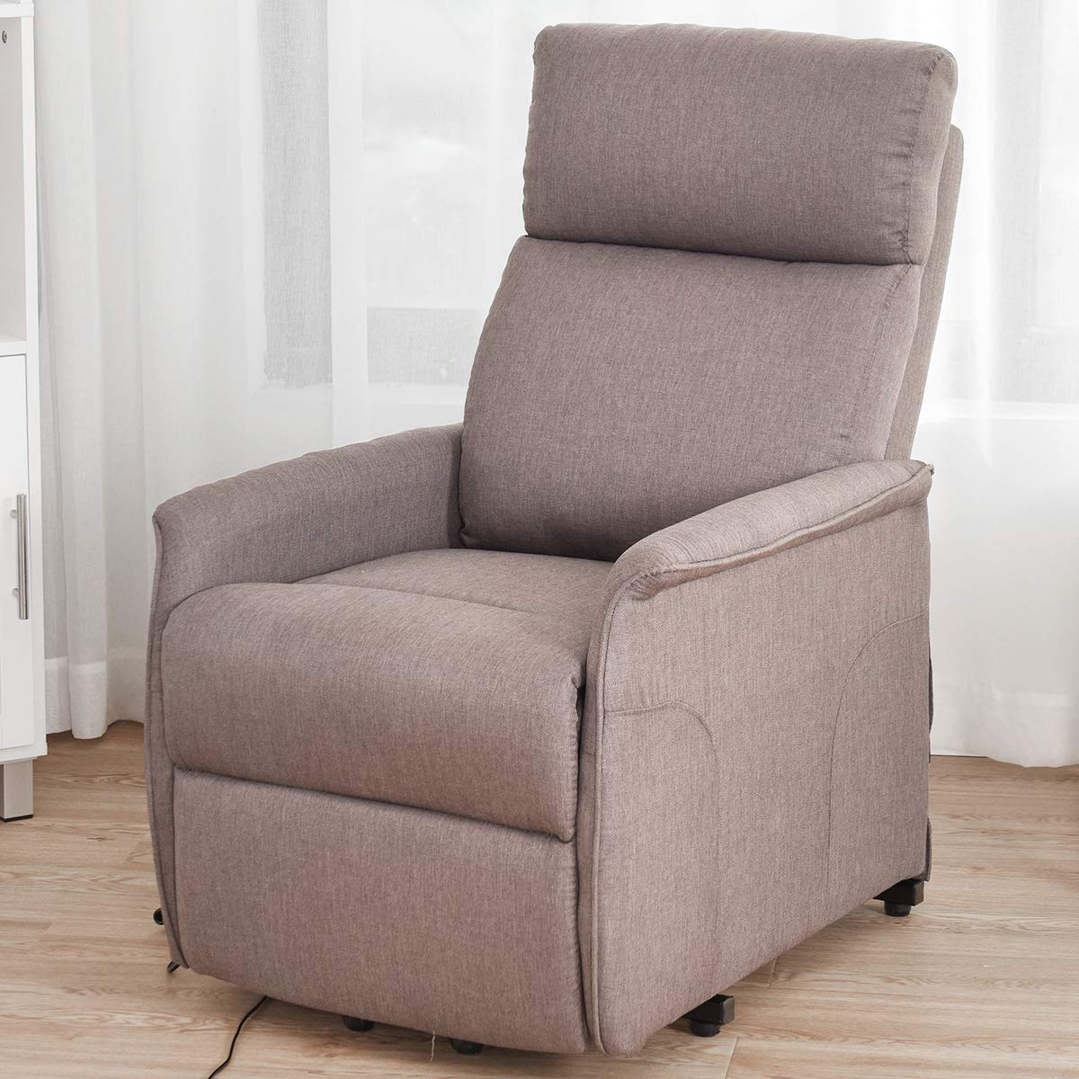 Giantex Recliner Sofa Chair Power Lift Recliner Fabric Padded Seat,Stable Steel Frame W Remote Adjustable Degree Chair Back for Living Room, Bedroom Reclining Electric Chair
