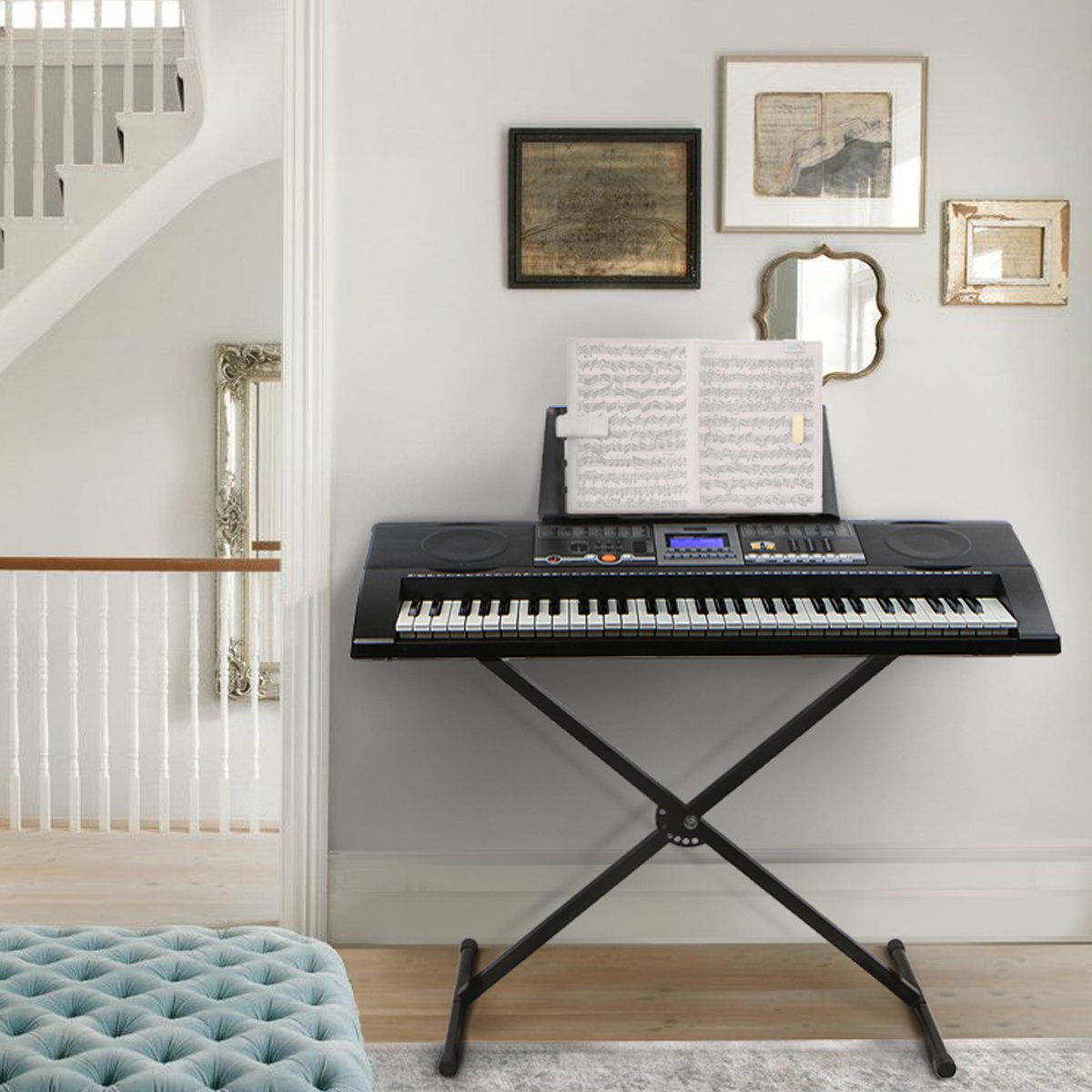 XtremepowerUS 61 Key Electronic Music Keyboard Electronic Piano W/ Stand LCD Display Screen
