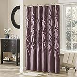 Madison Park Laurel Satin Polyester Shower Curtain, Plum