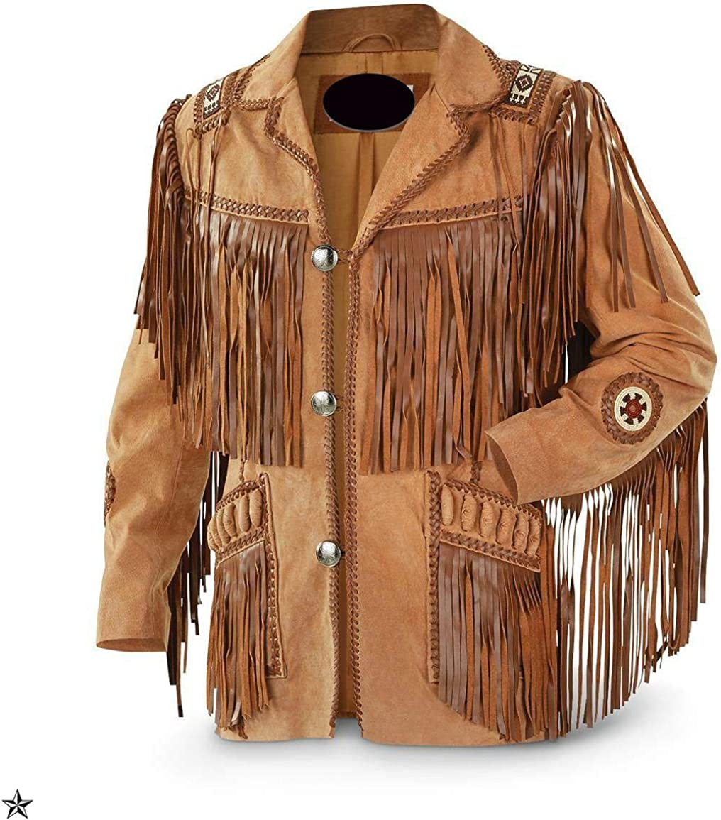 Mens Western Cowhide Cowboy Leather Jacket Beaded /& Botton Close Native American Coat Style