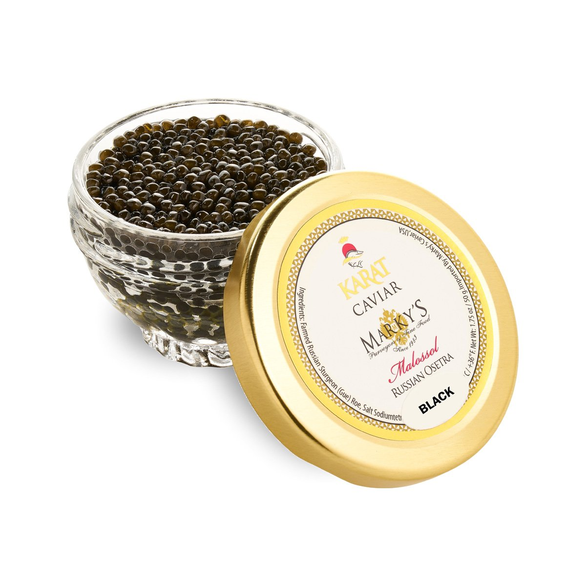 Russian Osetra Karat Caviar - Black -  4.0 oz jar by Marky'rs Caviar