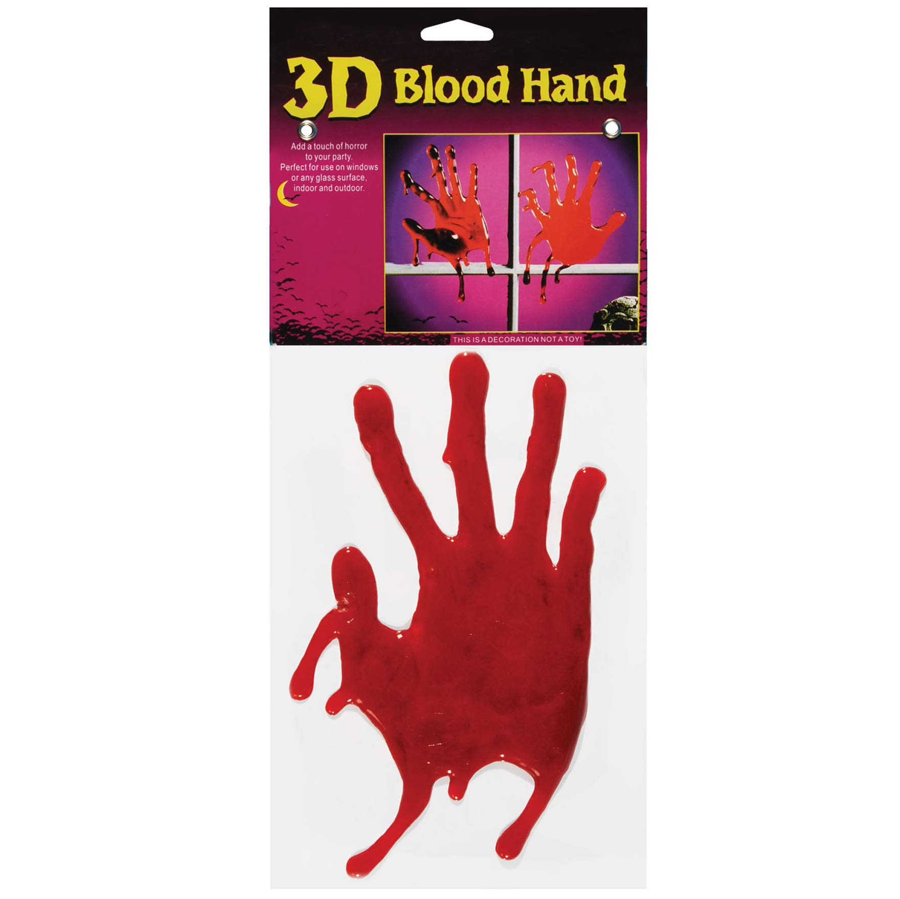 Veil Entertainment 3D Bloody Handprints Halloween Decoration 9'' Window Clings, Red, 12 Sets of 2 by Veil Entertainment