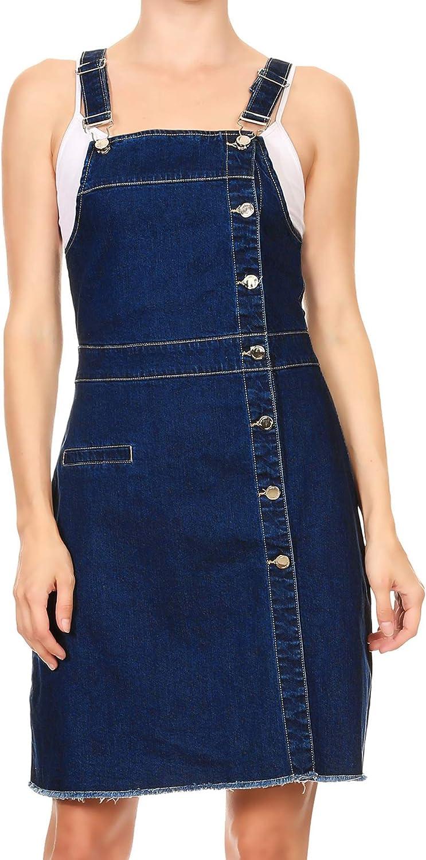 Anna-Kaci Womens 20s Fashion Adjustable Strap Denim Jean Overall Dress
