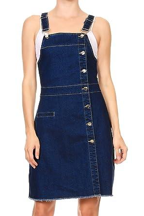 7ffb66df Amazon.com: Anna-Kaci Womens 90s Fashion Adjustable Strap Denim Jean  Overall Dress: Clothing