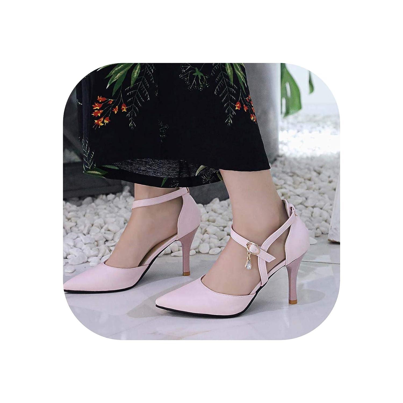 Pink Women Summer Pointed Toe Cutout Sexy Sandals Thin High Heel Elegant Sandals