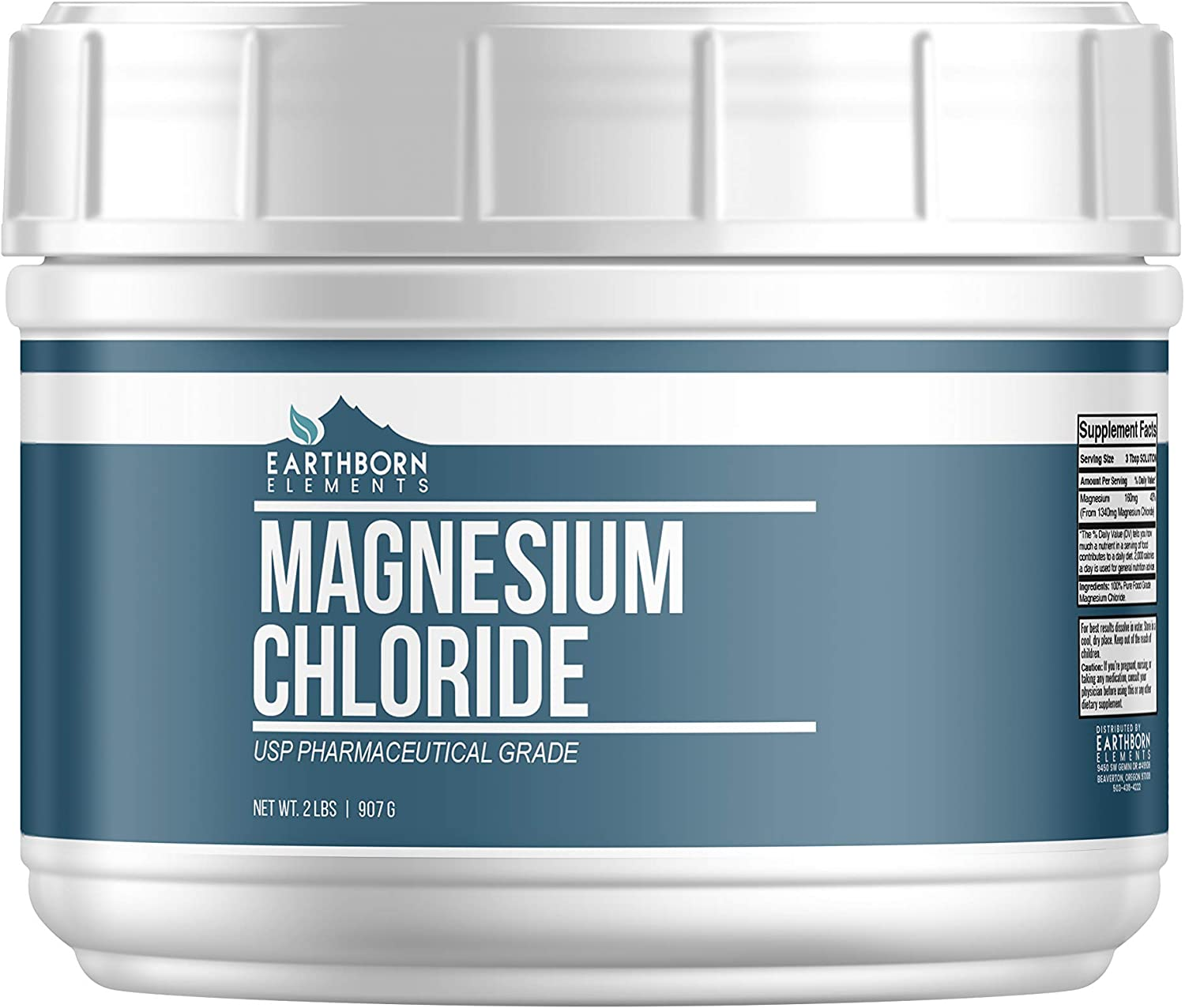 Magnesium Chloride (2 lb.) by Earthborn Elements, Resealable Tub, Highest Quality, Edible Oral Supplement, Food & USP Pharmaceutical Grade, Boost Magnesium Levels