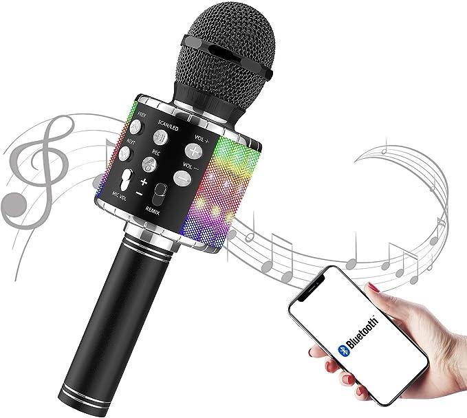 Dorado picK-me Inal/ámbrico Bluetooth Karaoke Micr/ófono 5 en 1 Singe port/átil Karaoke de mano Altavoz de m/úsica KTV Music Home Party Birthday Adecuado para Android//PC