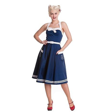 Hell Bunny Rockabilly vestido de marinera, diseño años 50-diseño de ancla y cinturón