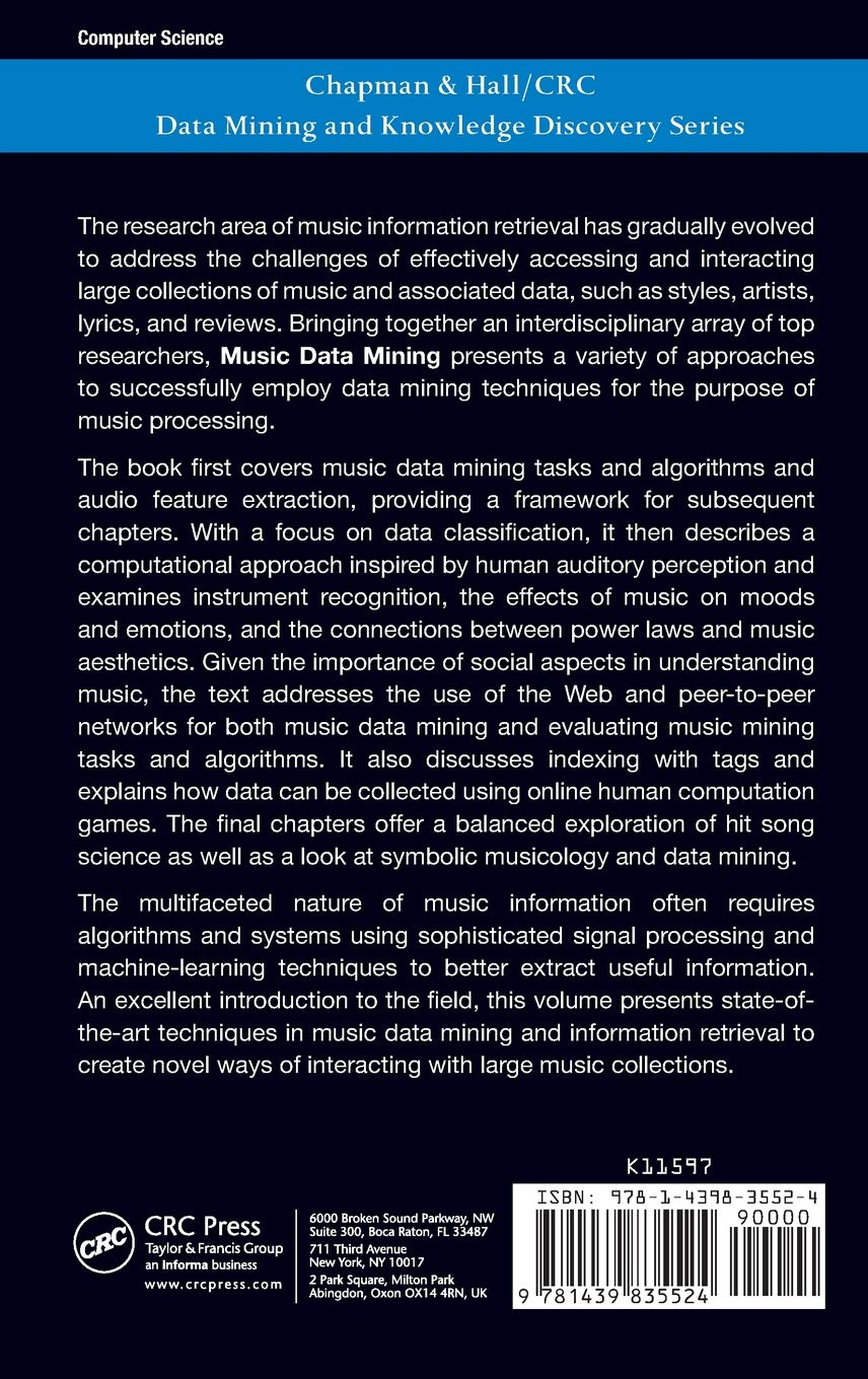 Music Data Mining (Chapman & Hall/CRC Data Mining and Knowledge Discovery Series) by CRC Press