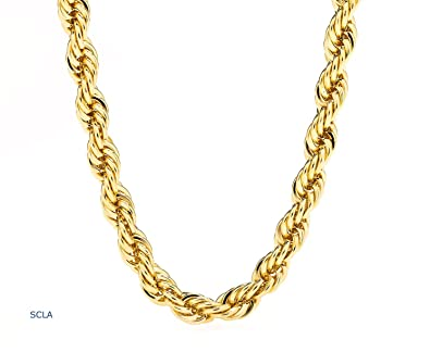 Gold Chain Necklace 24K Real Gold Plated 7mm Rope Chain USA Made