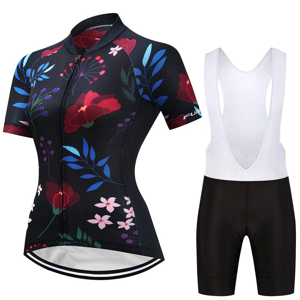 Actim Radtrikot Schwamm mit Hoher Dichte Damen Kurzarm Shorts Set Atmungsaktiver Feuchtigkeitstransport Jersey