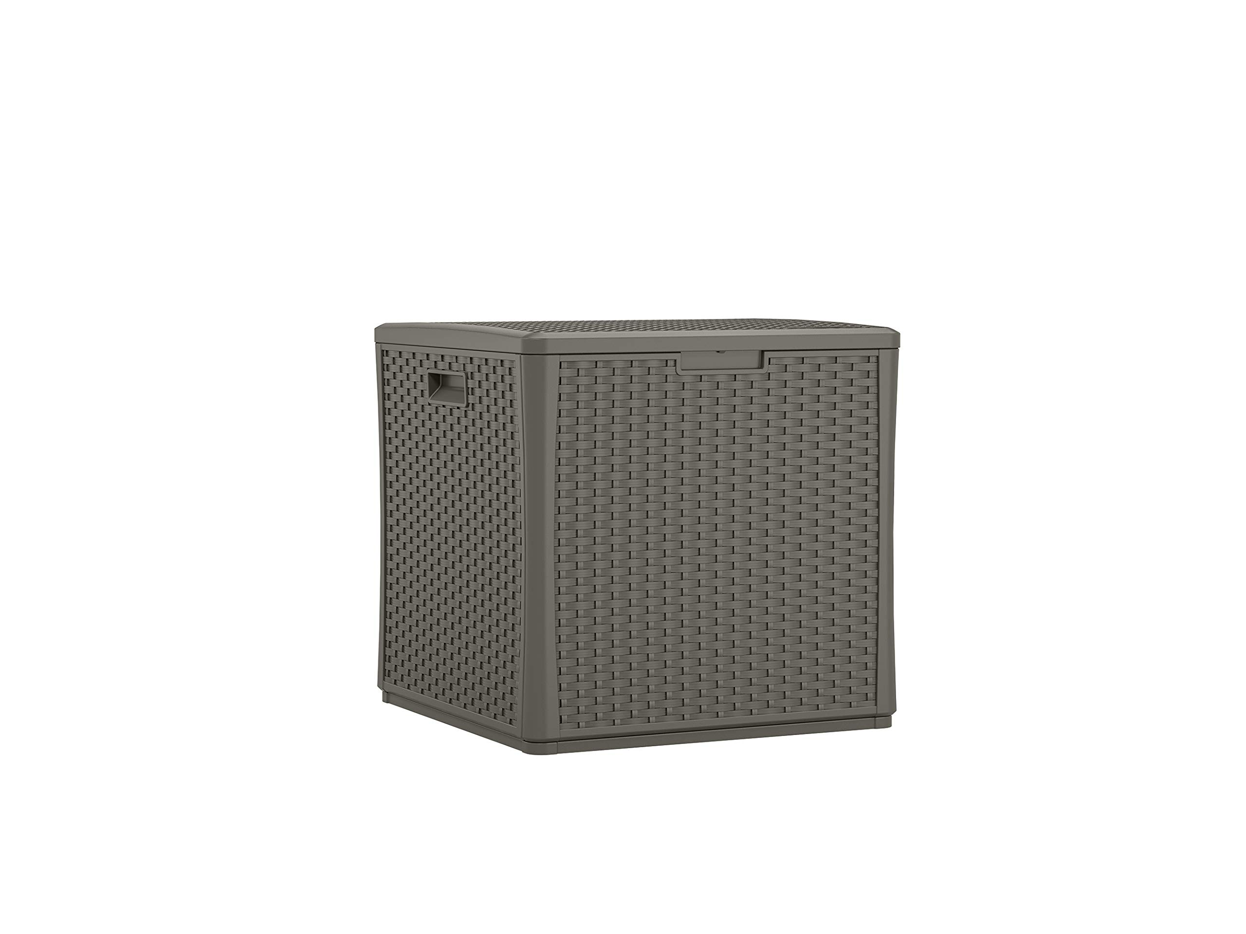 Suncast BMDB60ST Resin Wicker 60 Gallon Storage Cube Deck Box, Stoney