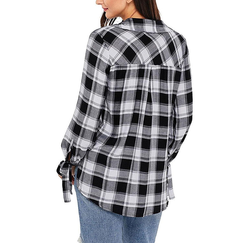 Overdose Women Blouse Long Sleeve V-Neck Plaid Shirt Top: Amazon.co.uk:  Clothing