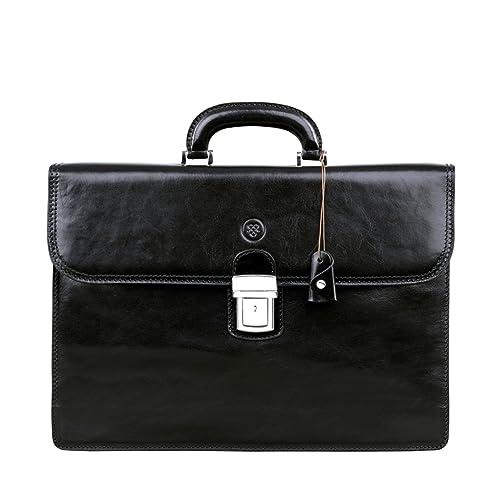 6496377d13 Borsa di lusso da ufficio in pelle nera da uomo (Paolo2): Amazon.it ...