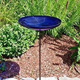 Achla Designs Crackle Glass Birdbath Bowl with Stake, 14-in, Cobalt Blue
