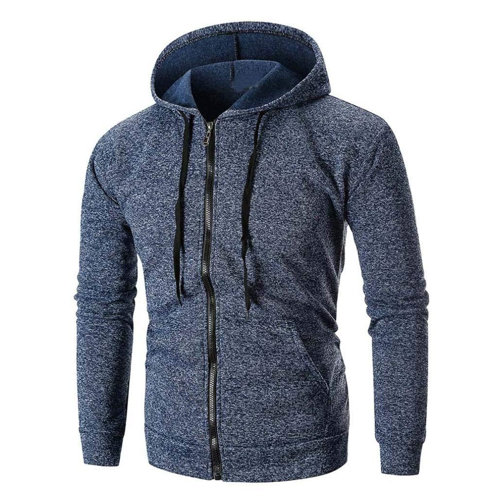Fashion Stylish Lined Fleece Full Zip Sweatshirt Jackets Outwear-Heavyweight Hoodies for Men (Navy, M)