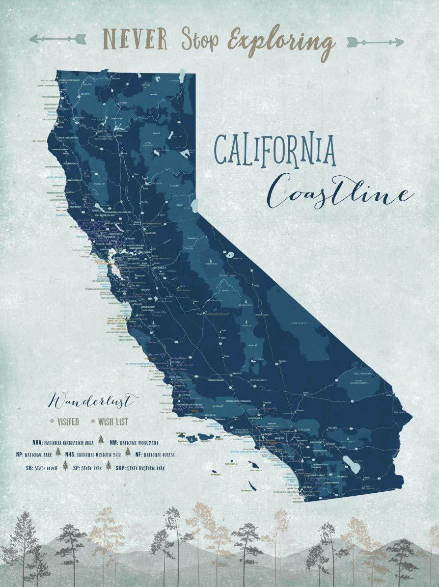 Amazon.com: California Map, Coast line, Push Pin Map, California ...