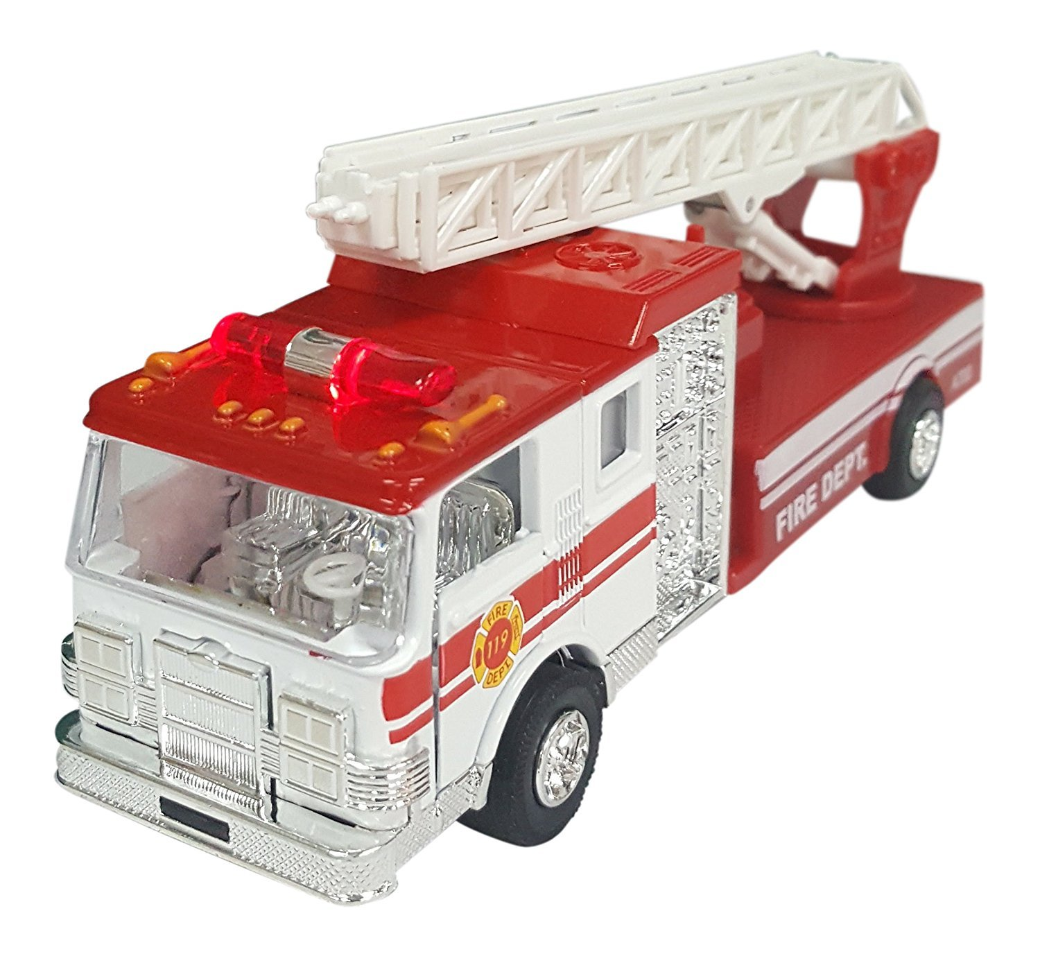 Style May Very YMCtoys Fire Engine Truck with Ladder 6.5 Die-Cast Metal Pull-Back Action