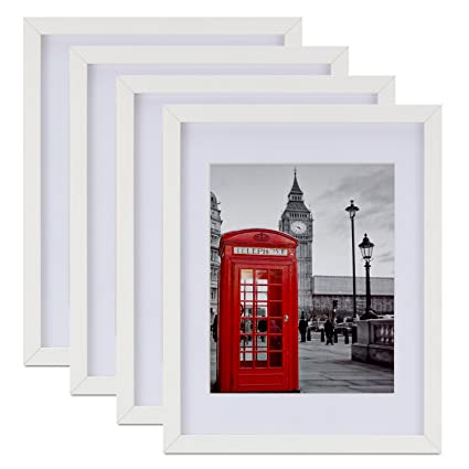 Amazon.com - Tempered Glass 4PCs 11x14 Picture Frame with Mats for ...
